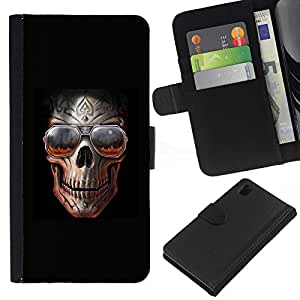 ZCell / Sony Xperia Z1 L39 / Rock Skull Black Metal Shades Cool Hell / Caso Shell Armor Funda Case Cover Wallet / Rock cráneo Negro Metal