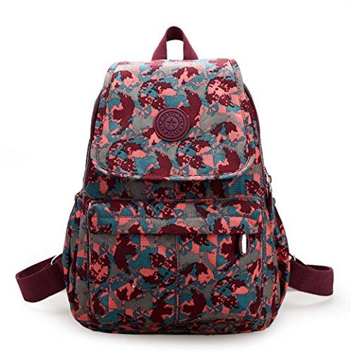 Clode® Ocio de Nylon chicas mochila mochila Colegio mochila senderismo bolso mochila Rojo