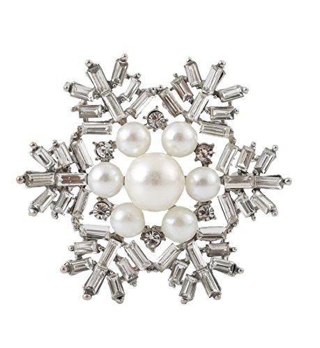 VOGUEKNOCK Xmas Brooch Crystal Breastpin Enamel Christmas Snowflake - Glasses Trend Grandpa