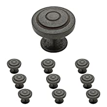 "Franklin Brass P29526K-SI-B Soft Ringed Knob, 1-1/4"" (32mm), Aged Iron, 10 Piece"
