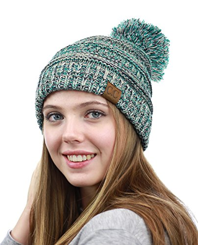NYFASHION101 Unisex Multicolor Warm Cable Knit Slouch Pom Pom Beanie Cap