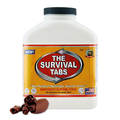 Survival Tabs 15-Day 180 Tabs Emergency Food Ration Survival MREs Food Replacement for Outdoor Activities Disaster Preparedness Gluten Free and Non-GMO 25 Years Shelf Life Long Term - Chocolate Flavor