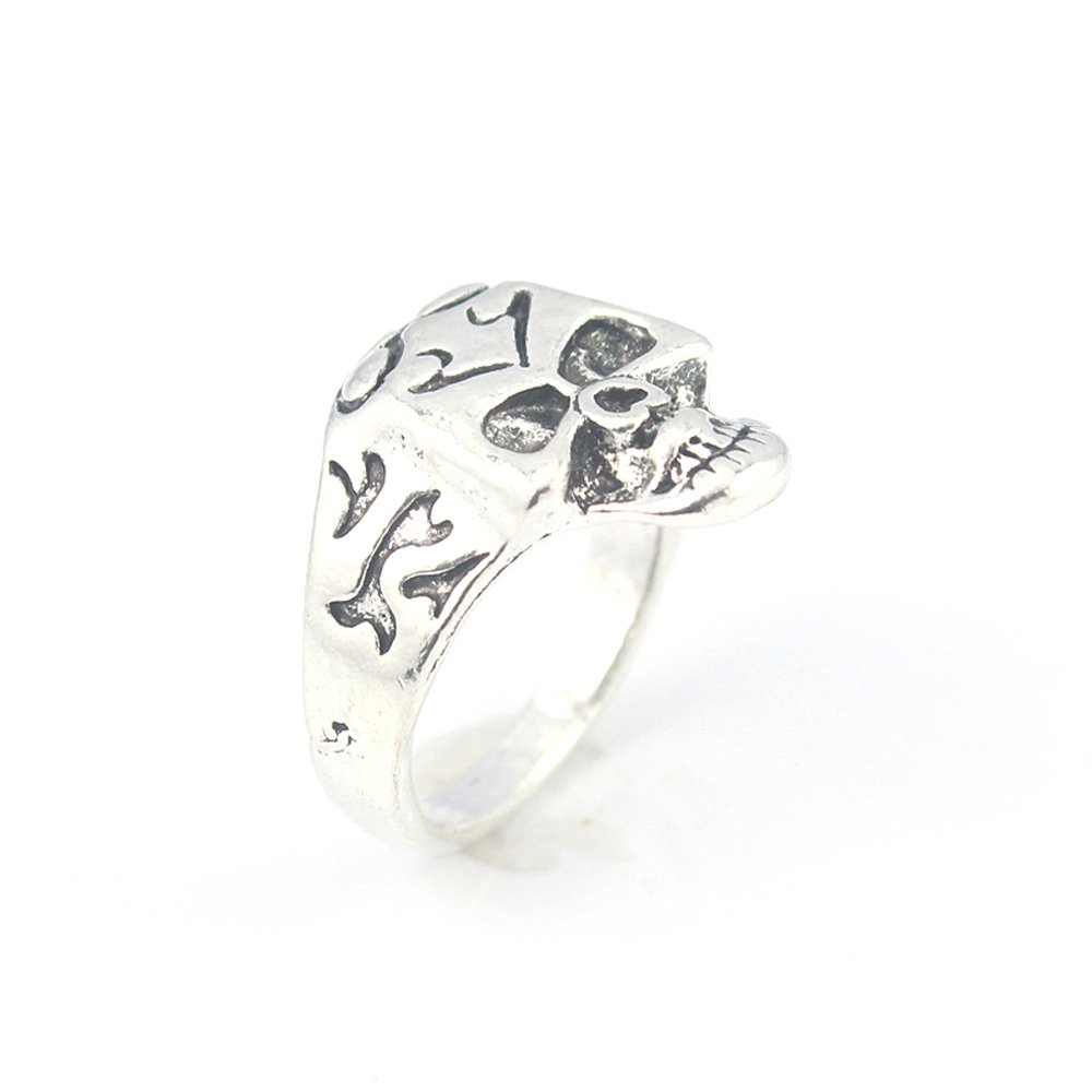 SKULL PLAIN FASHION JEWELRY .925 SILVER PLATED RING 9 S23602