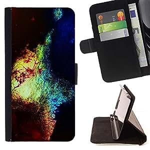 For Samsung Galaxy S5 Mini (Not S5), SM-G800 Case , Hand Drawn amarillo brillante Sangre- la tarjeta de Crédito Slots PU Funda de cuero Monedero caso cubierta de piel