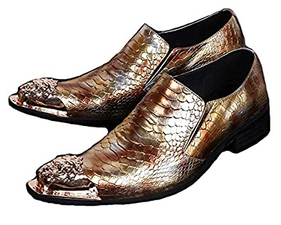 50%OFF US Size 5-12 New Gold Alligator Print Leather Steel Toe Mens Dress Slip On Loafers Shoes
