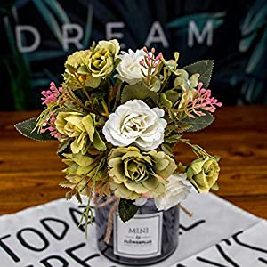 lightclub 1Pc Artificial Rose Flower Fake Plant Wedding Party Restaurant Hotel Home Porch Decor Green 2