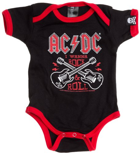 Sourpuss Ac/Dc Rock N' Roll One Piece 0-3M (Logo Guitar Dc)