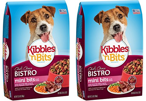 Kibbles 'n Bits Bistro Small Breed Mini Bits Dog Food, Oven Roasted Beef, 3.5 lb bag (Pack of 2)