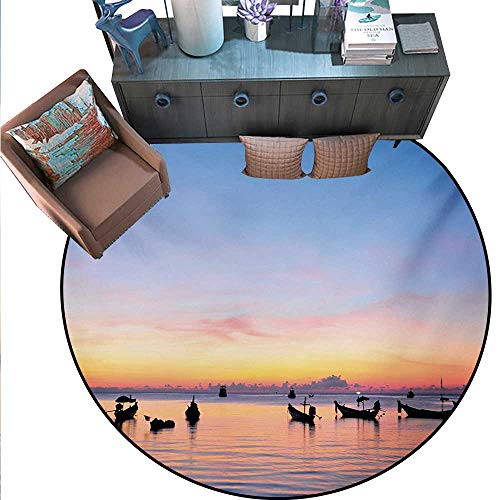 - Fishing Round Floor Cover Sunset on Sea Silhouette Ships at Suratthani Asian Bay Relaxation Art Door mat Indoors Bathroom Mats Non Slip (55