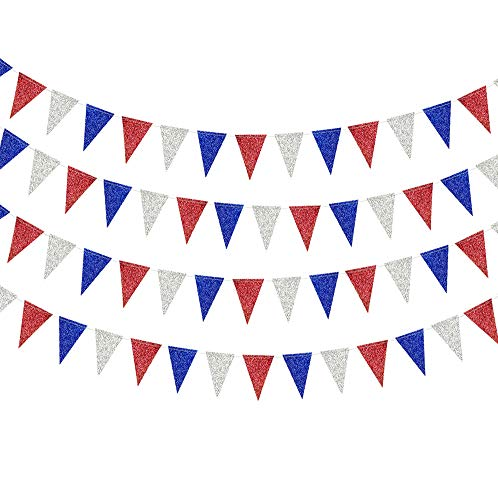 Red Blue Silver/White Triangle Pennant Banner Kit for Fourth/4th of July USA American Independent Day Celebration Party Flag Garland Hanging Bunting Decoration for Birthday/Wedding/Baby -