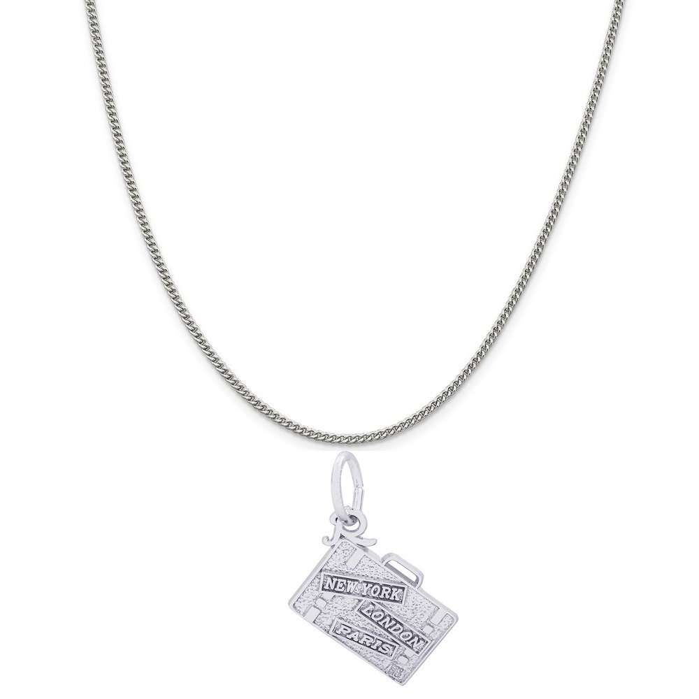 Box or Curb Chain Necklace 18 or 20 inch Rope Rembrandt Charms Sterling Silver Suitcase Charm on a 16