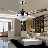 Efperfect 44 inch Crystal Ceiling Fan Light with Remote Control 4 stainless steel blades 3-color dimming Light modern Chandeliers Pendant Lighting