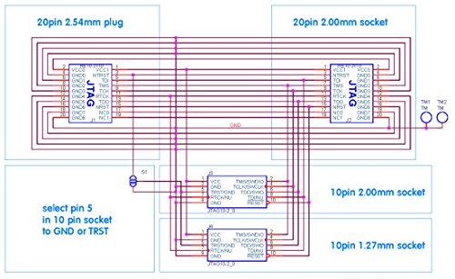 Ailavi Standard ARM 20 Pin 2 54mm JTAG Interface to 10 Pin 2 0mm and 1 27mm  Spacing SWD Interface Adapter