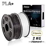 SUNLU 3D Printer Filament,PLA Plus Filament - 1.75 mm Black+White 2kg Spool (4.4 lbs) - Dimensional Accuracy +/- 0.02mm - 100% Virgin Raw Material