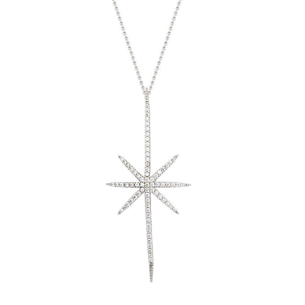 Sterling Silver CZ North Star Necklace Adjustable
