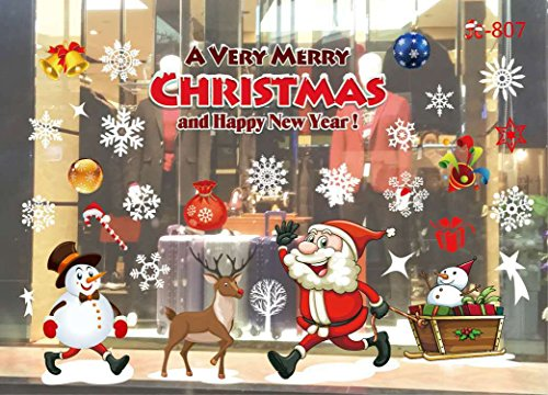 Christmas Window Stickers Decorations Clings Decal Colorful Santa Removable Films Large Wall Door Mural Sticker for Marry Christmas Showcase Holidays Xmas Decoration 55 X 38cm /21.6 X 15 (807)