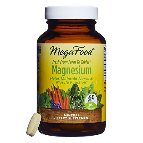 MegaFood - Magnesium, Multimineral Support for Heart, Muscle, and Nerve Health with Organic Spinach, Vegan, Gluten-Free, Non-GMO, 60 Tablets (Magnesium Supplement Tablets)