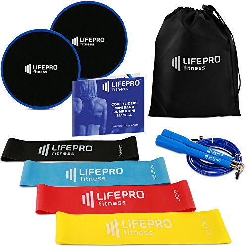 LifePro Resistance Loops Sliders & Jump Rope - Premium Equipment with Home Exercise Videos & eBook - 4 Fitness Bands + 2 Gliding Discs & 1 Speed Adjustable Jump Rope