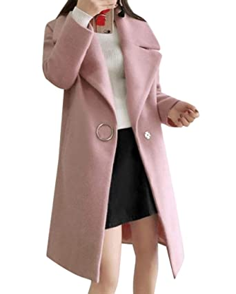 54a80ef440d Vinyst Women Warm Mid-Long Lapel Fall Winter Classy 1 Button Trench Coat  Pink XL
