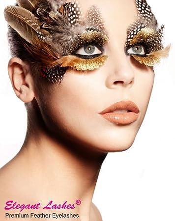 8e65e9e313b Amazon.com : Elegant Lashes F216 Premium Gold Feather False Eyelashes  Halloween Dance Rave Costume : Fake Eyelashes And Adhesives : Beauty