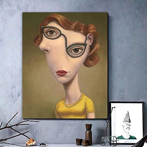 Ayjxtz Puzzle 1000 Piezas Cuadro de Arte Moderno de Pintura de Cara de Mujer Abstracta nordica Puzzle 1000 Piezas Animales Gran Ocio vacacional, Juegos interactivos familiares50x75cm(20x30inch)