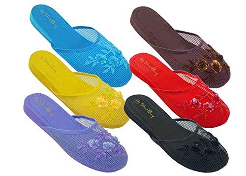 757427c9f58f6 6 Pairs Assorted New Women's Mesh Chinese Slippers (9 B(M) US): Amazon.ca:  Beauty