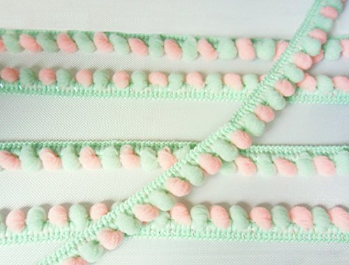 Mint Green Peach Pink Mini Pom Pom Mix Colors Fringe Lace Dangle Trim Fluffy Bobble Ball Ruffle Sewing Supplies ()