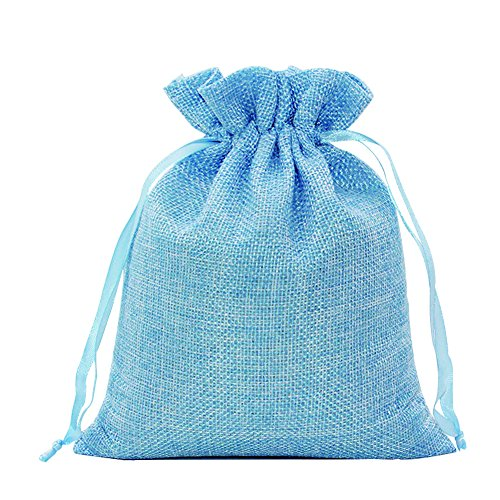 Nuiby Cotton and Linen Gift Bags with Drawstring Jute Muslin Bags Burlap Candy Bags - 4.1