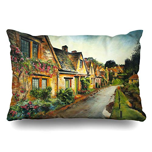 (Ahawoso Throw Pillow Cover King 20x36 Holiday Blue England English Village European Street Nature Bay Boats Britain British Design Scene Zippered Cushion Pillow Case Home Decor Pillowcase)