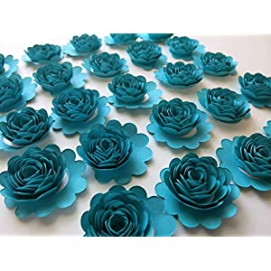 Set of 24 Dark Teal Blue Carnations, 1.5 Inches Turquoise Paper Flowers, 3D Table Runner Scatter, Millinery, Card Making 31