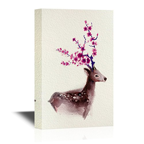 Watercolor Style Deer Series Burgundy Deer