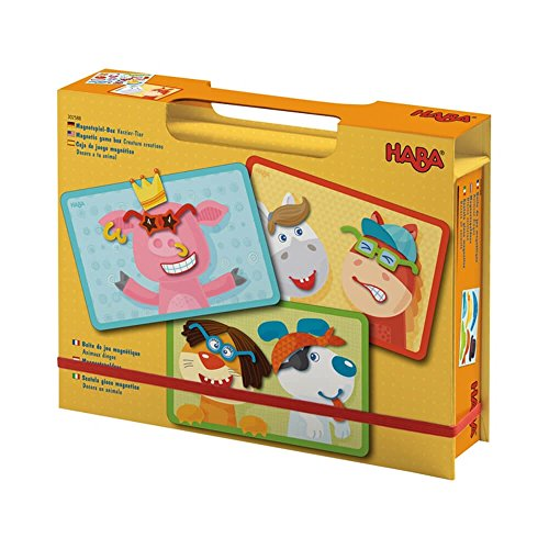 HABA Creature Creations Magnetic Game Box - 51 Hilarious Magnetic Pieces with 3 Backgrounds in Cardboard Carrying - In Sunglass Spanish