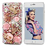 iPhone 6 Plus Case 5.5', iPhone 6S Plus Case - Mavis's Diary 3D Handmade Luxury Bling Crytal Cute Pumpkin Car Golden Crown Pink Flower Dancing Girl Shiny Heart Rhinestone Diamonds Clear Hard PC Cover