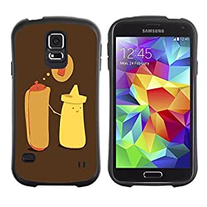 Hybrid Anti-Shock Bumper Case for Samsung Galaxy S5 / Hotdog & Mustard