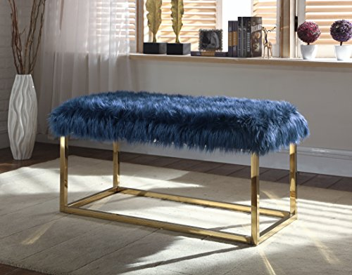 Iconic Home Marilyn Bench Ottoman Faux Fur Brass Finished Stainless Steel Metal Frame, Modern Contemporary, Navy (Brass Bench)