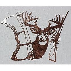 Buck Bow and Rifle Metal Wall Art Hunting Decor