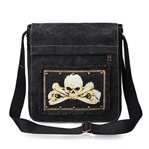 DGY Leisure Canvas Skeleton Pattern Single Shoulder Bag for Men and Women G8201