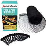 AlpineReach Pond & Pool Netting Kit 15 x 20 ft - Dense Fine Mesh Heavy Duty Net - Cover for Leaves - Protects Koi Fish from Birds, Blue Heron, Cats, Predators UV Protection All Accessories Stakes Incl