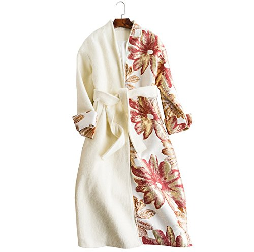 Charles Women's Coat Embroidered Lace Flowers Wool Coat Plus Long Coat White S (Charles Wool Coat)