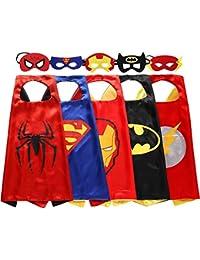 Kids Superhero Dress Up Costumes - 5 Satin Capes and 5 Felt Masks
