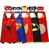 Zaleny Kids Superhero Dress up Costumes - 5 Satin Capes and 5 Felt Masks