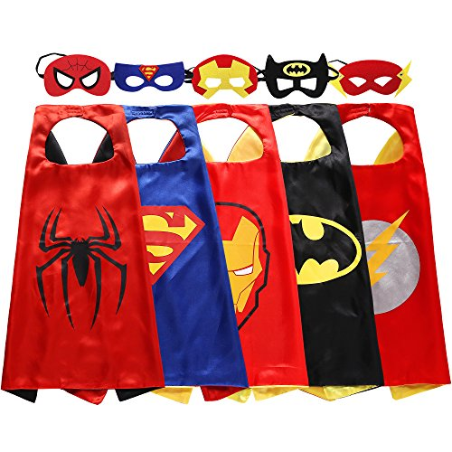 [Zaleny Kids Superhero Dress Up Costumes - 5 Satin Capes and 5 Felt Masks] (Hero Costumes For Men)