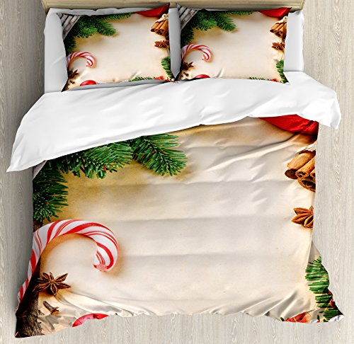 Ambesonne Christmas Duvet Cover Set Queen Size, Assortment o