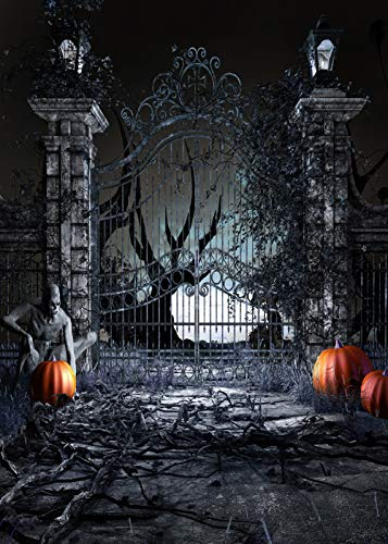 KSZUT 5x7ft Photography Backdrops Scary Halloween Background Pumpkin Door Zombie Night Background Photographic Studio Background dz-686 -