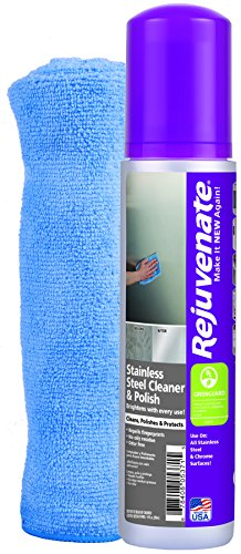 Rejuvenate Stainless Steel Cleaner and Polish Kit – Including One Free Microfiber Towel to Make Your Stainless Steel Shine and Sparkle Like New with No Greasy Residue – 10 Ounce