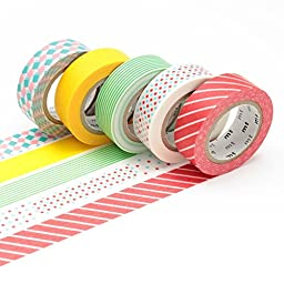 MT Masking Tape 5 Rolls set (A-set) Gift box Monotone + Gift box Pop + SAKURA Original 5 Colors Sticky Notes