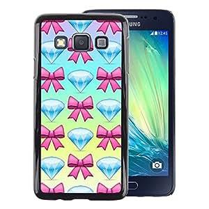 A-type Arte & diseño plástico duro Fundas Cover Cubre Hard Case Cover para Samsung Galaxy A3 (Diamond Jewel Gem Bowtie Pink Blue)