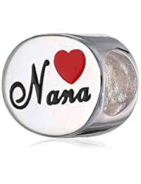 Queenberry Sterling Silver Love Nana Great Grandma Red Heart Enamel Bead for European Chamilia Biagi Troll Pandora Charm Bracelets