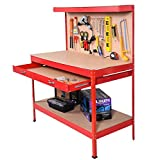 Red Working Bench With Drawer And Peg Board Work Bench Tool Storage Steel Hanging Tool Workshop Table Two Roll Out Drawers Bottom Shelf For Storing Heavy Duty Tools Garage Shop