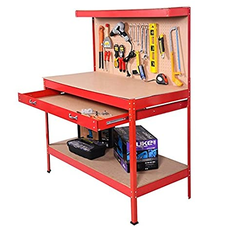 Phenomenal Red Working Bench With Drawer And Peg Board Work Bench Tool Beatyapartments Chair Design Images Beatyapartmentscom